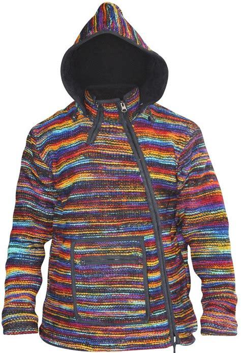 hippie sweaters mens cross neck hippie winter tyedye jacket fleece lined