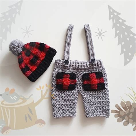 lumberjack baby newborn outfit plaid hat  pants