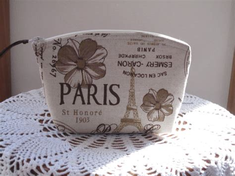 Linen Clutch Cosmetic Bag Purse Retro Vintage French