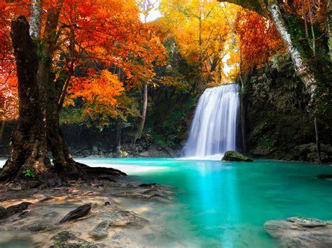 waterfall  kanjanaburi thailand landscapes wallpaper