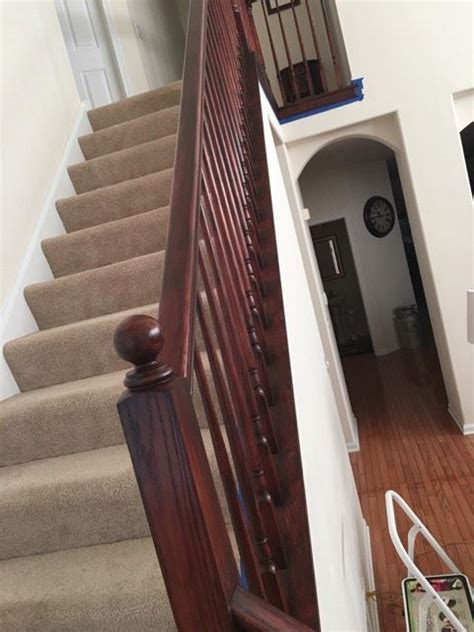 Mahogany Banister by Staircase Revival In Brown Mahogany General Finishes