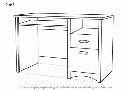 Desk Draw Computer Drawing Step Furniture Finishing