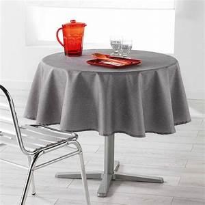 Nappe De Table Ronde : nappe ronde 180 cm enduite newton gris anthracite nappe de table eminza ~ Teatrodelosmanantiales.com Idées de Décoration