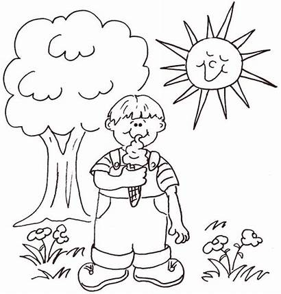 Sunny Coloring Drawing Weather Clipart Pages Sheet