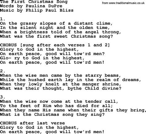 The First Christmas Song By Philip Bliss  Christian Hymn