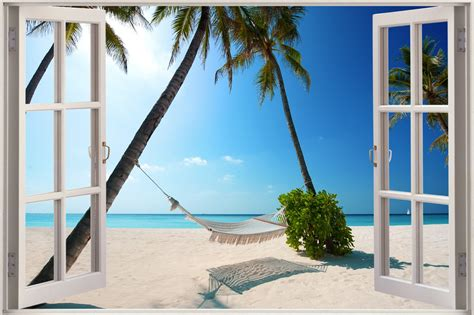 3d Window Ocean View Blue Sea Home Decor Wall Sticker: Huge 3D Window Exotic Ocean Beach View Wall Sticker Art