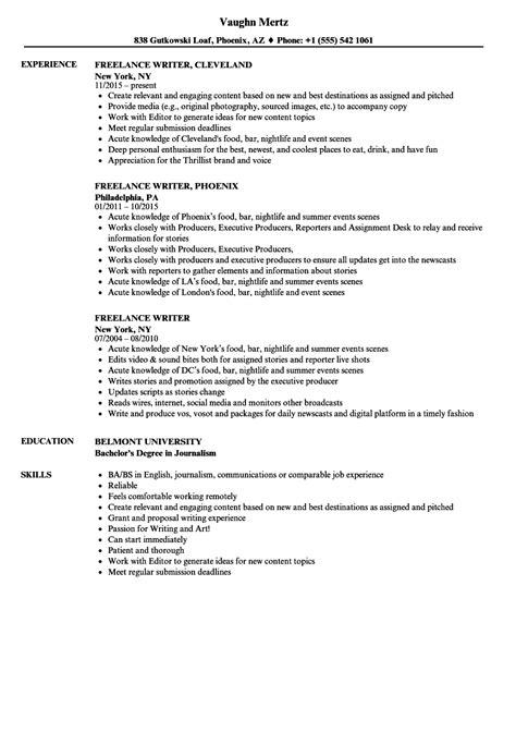 freelance writer resume sles velvet