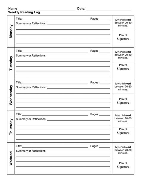 Reading Log With Summary Template by 47 Printable Reading Log Templates For Middle School
