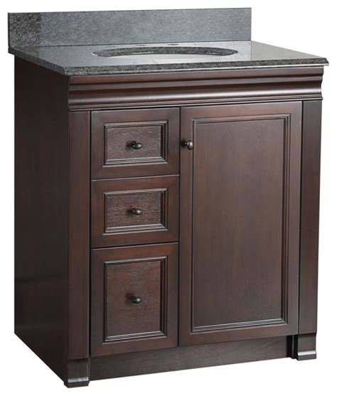 Bathroom Vanity Top With Sink On Left Side 30 Quot Tobacco Bath Vanity With Left Side Drawers
