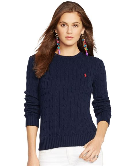 womens sweaters lyst polo ralph crew neck cable knit sweater in blue