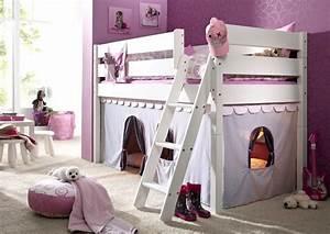 Kinderzimmer Vorhänge Mädchen : massivholz hochbett spielbett mit vorhang girl buche massiv wei lackiert i nora ~ Watch28wear.com Haus und Dekorationen