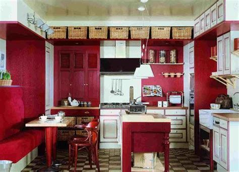 Red And White Country Kitchen  Home Decorating Ideas