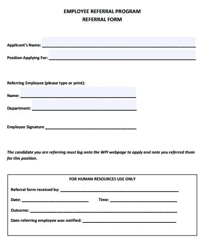 employee referral form templates  sample templates