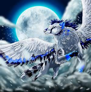 Wolf with Wings Flying