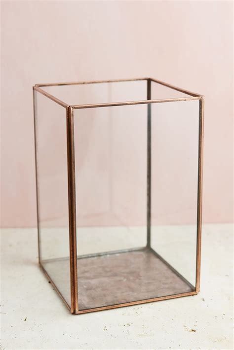 copper lanterns for candles glass terrarium display copper large