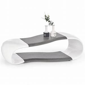 Table Blanche Et Grise : table basse design blanche et grise 113cm delphine so inside ~ Teatrodelosmanantiales.com Idées de Décoration