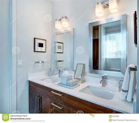 Sinks And Mirrors In Public Restrooms Stock Photo