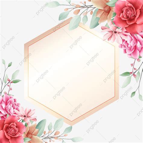 Elegant Floral Border Decorative With Golden Geometric