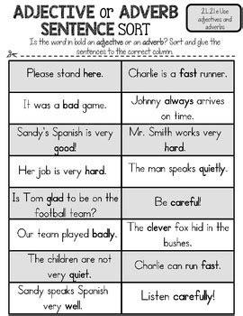 freebie adjectives  adverbs sort  rock paper