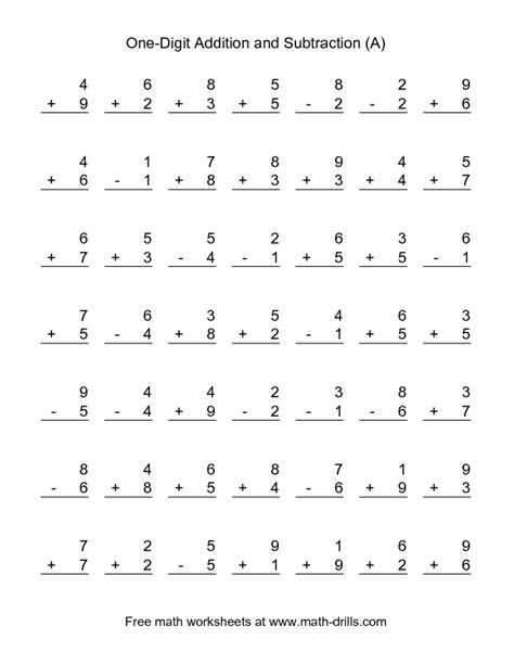 combined addition and subtraction worksheet single digit a school subtraction