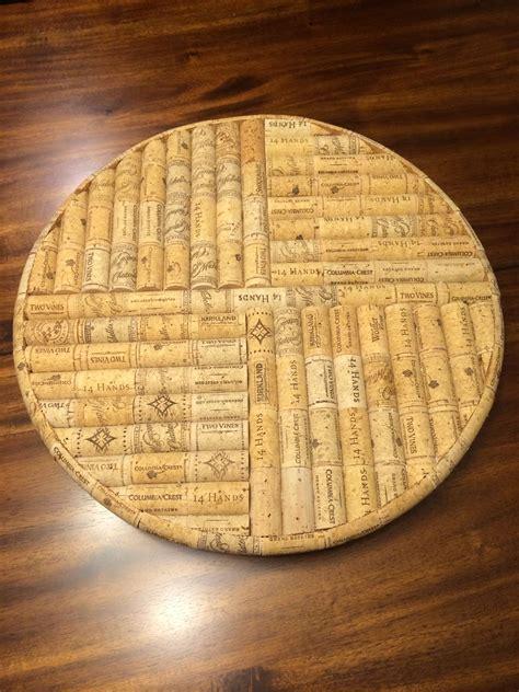 handmade lazy susan  spins    wine corks