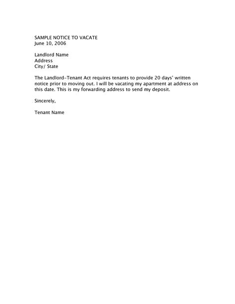 apartment  day notice letter sample apartment