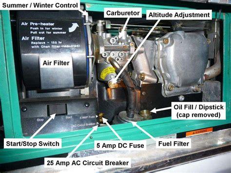 checking  oil   onan generator roadtrek class