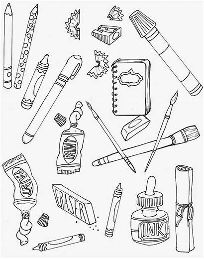 Coloring Supplies Fun Drawing Pages Supply Sunday