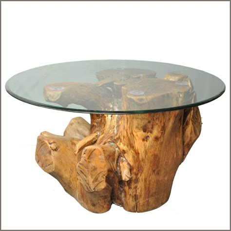 Natural Tree Solid Log Wood Stump Cocktail Coffee Table W