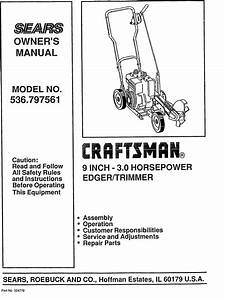 Craftsman 536797561 User Manual 3 0 H  P  Edger  Trimmer