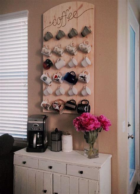 coffee station with wall mounted mug rack   Kitchen