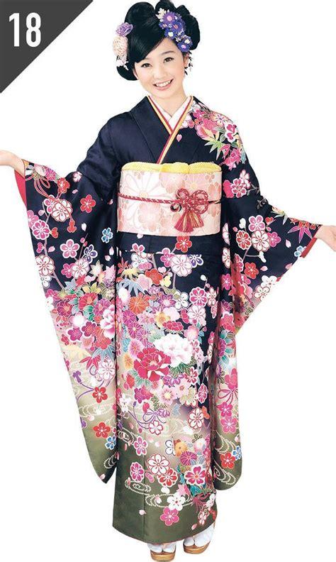 hl アッシュ エル brand black and floral furisode kimono kimonogeisha