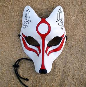 White Okami Kitsune Mask... Japanese Fox Leather Mask