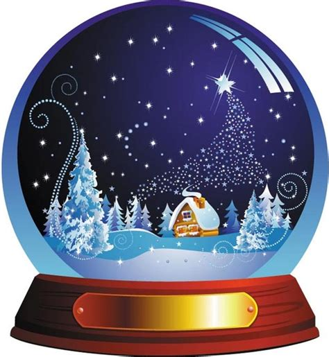 beautiful christmas snow globe with winter scene vector
