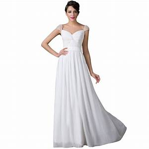 Aliexpresscom buy vestidos women cap sleeve floor for Long white wedding dresses