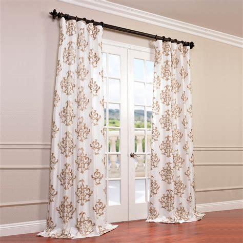 White Faux Silk Drapes - ankara white embroidered faux silk taffeta curtain