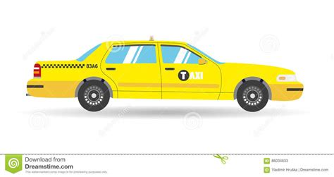 Cartoon Yellow Flat Taxi Icon. Objects Business Cab Car