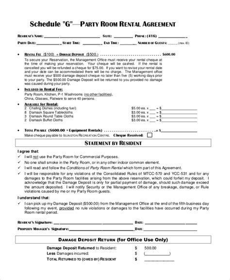 sample room rental contract templates   ms word