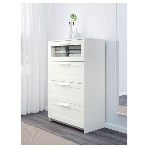 Brimnes Chest Of 4 Drawers White Frosted Glass 78 X 124 Cm