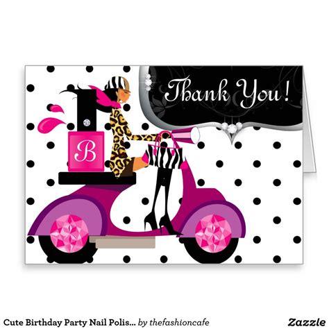 cute birthday party nail polish scooter girl dots