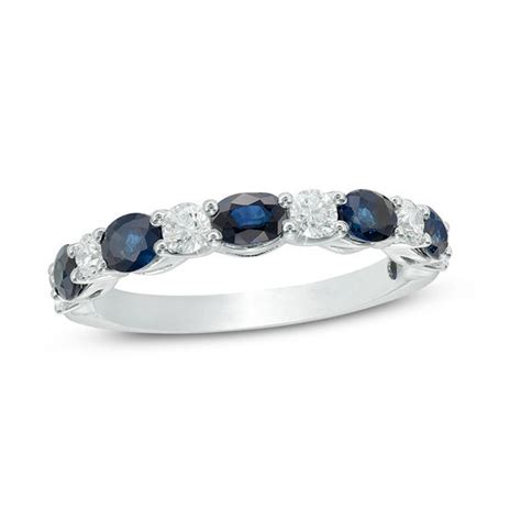 vera wang love collection oval blue sapphire and 3 8 ct t w diamond alternating wedding band