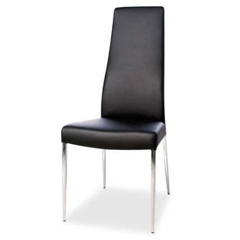dining chair black or white leather chrome legs