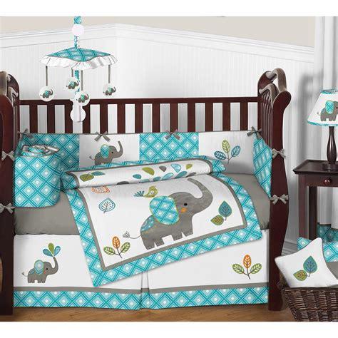 sweet jojo designs mod elephant 9 piece crib bedding set