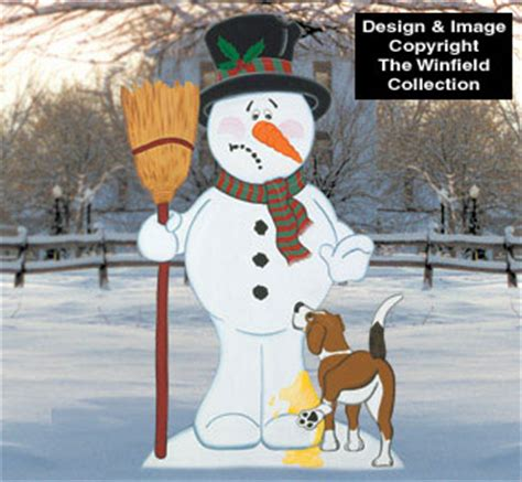 snowmen bad doggie snowman wood pattern