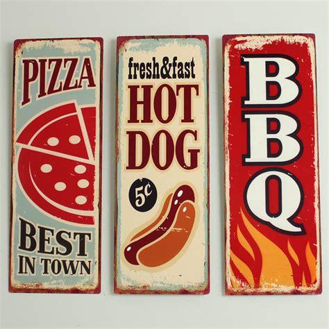 plaque metal cuisine set of 3 metal retro vintage food wall plaques melody