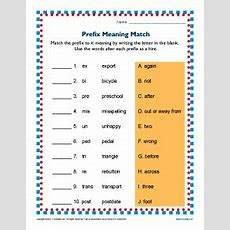 Prefix Meaning Match  2nd And 3rd Grade Prefix Worksheets