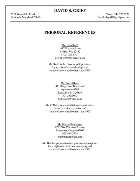 Writing References On A Resume by Personal Reference Template Griff Personal References
