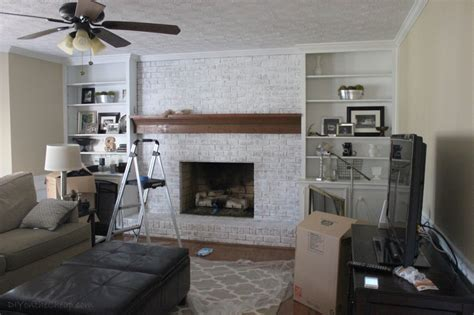 How to Whitewash a Brick Fireplace   Erin Spain