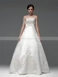 embroidery strapless satin princess wedding dress With silk princess wedding dresses