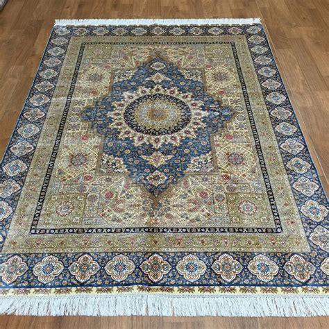 Silk Rugs by Yilong 5 X7 Blue Handmade Silk Rug
